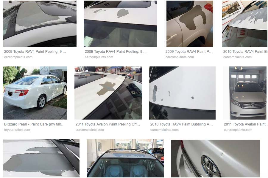 There is a problem with Toyota Blizzard Pearl White paint.
